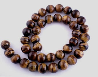 set of 2 stone beads fine Tiger eye 12 mm
