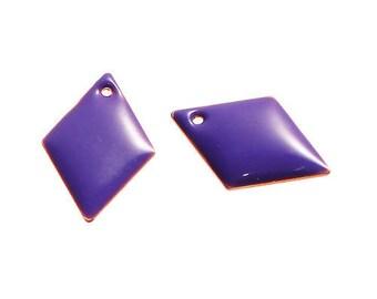 Purple sequins 2 diamonds set in copper enameled 16 mm x 11 mm