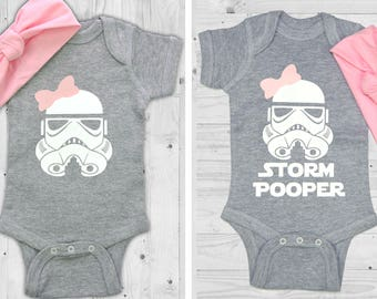 Star Wars Baby Girl Stormtrooper / Storm Pooper with bow, Matching headband for baby
