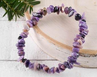 CHAROITE Chip Bracelet - Charoite Bead Jewelry, Healing Crystal Bracelet, Charoite Crystal Bracelet, Charoite Stone Stretch Bracelet E0826
