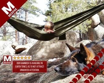 Hammock Tactical Parachute Backpacking Hiking Survival Bug Out Hunting Prepping Travel Flat Dark Earth Ranger Green Leisure Minimalist
