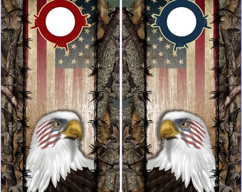 Wicked Wire Eagle Flag Camo Cornhole Wrap Bag Toss Decal Baggo Skin Sticker Wraps
