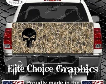 Tallgrass Camo Punisher Skull Truck Tailgate Wrap Vinyl Graphic Decal Sticker Wrap