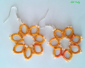 Croisette Orange tatted earrings