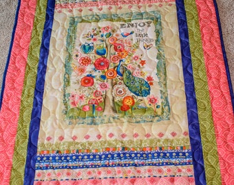 "Titled""Enjoy the little things""quilted lap throw"