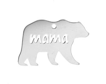 "2 pendants bear ""Mama"" stainless steel 3cm"