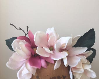 Flower Crown - White & Pink Magnolia Fascinator