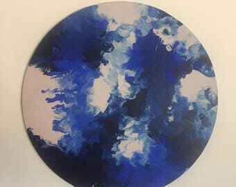 Acrylic Marble Effect Circle Canvas Painting - Cobalt, Navy & Nude