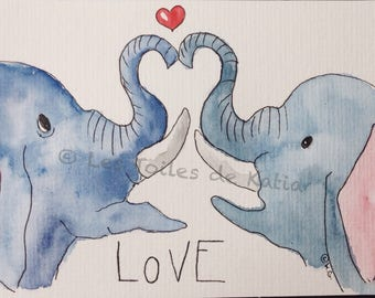 Elephants in love, heart and LOVE. Watercolor postcard size 10 X 15