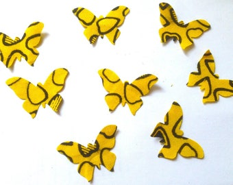 Cuts 8 butterflies in yellow and black/wax cotton fabric dies