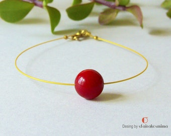 Simple Red Coral Bracelet, Real Red Coral, Gold Coral Bracelet, Bridesmaid Jewel, Minimal Coral Bracelet, Bridal party gift