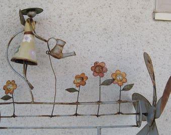 Whirligig, Metal Garden Art, Yard Art, Vintage Metal Whirligig
