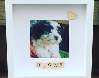 Scrabble box photo frame - personalised with a pet's name