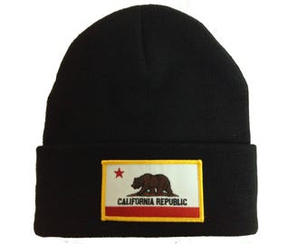 Black Beanie with Embroidered California Flag Patch on