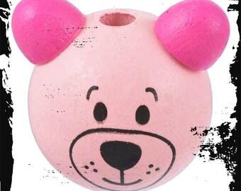 Head of Teddy bear 3D pacifier size is 25mm wooden bead