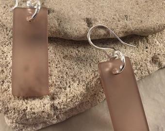 Amethyst Sea Glass Rectangle Convave Earrings