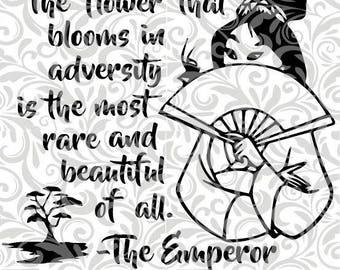 Mulan, The Flower That Blooms, Emperor, Japan SVG,EPS,DXF Cut File