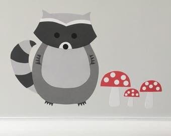 Raccoon Wall Sticker, Raccoon Decal, Raccoon Nursery Decoration, Baby Raccoon, Forest Animals Decal, Woodland Animals, Woodland Nursery, Art