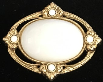 "Vintage Milk Glass and Gold-toned Brooch - White ""Stone"" Victorian Brooch"