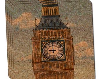 Big Ben Clock Tower London England Thin Cork Coaster Set Of 4
