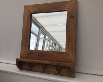 Handmade hall mirror with hooks