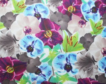 Floral Print Poly/Spandex 4 way stretch Matt Finish Fabric