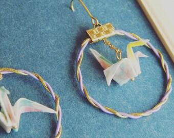 Mizuhiki&Paper cranes earrings