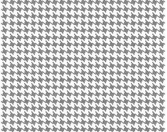 Black and White Houndstooth Fabric -  Rosecliff Manor by Emily Taylor Designs Riley Blake Designs - c3925 White Houndstooth Quilting Fabric