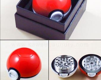 Zinc Alloy Plastic Garlic Pokemon Ball Weed Herb Grinder Pokeball Aroma 3 Layer Pollen Catcher in Box