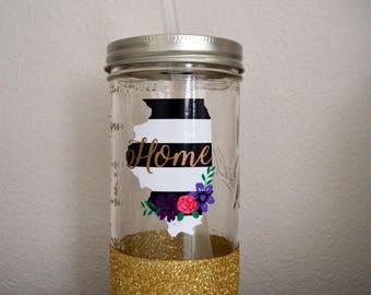 State of Illinois Floral Gold Glitter Mason Jar Tumbler
