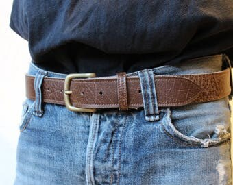 Brown leather belt; leather belt. Brown belt