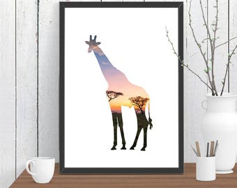 Giraffe Print, African Nursery Print, Minimalist Artwork, Adventure Print, Wild Animal Print, Kids Room Art A4 A3 A2 8x10 11x14 12x18 16x20