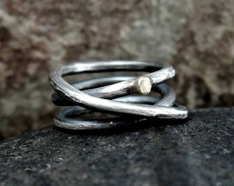 Golden dot - silver ring, sterling, rough, raw, statement, oxidised, gold and silver