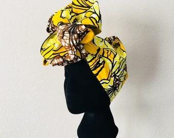 Head Wrap - African - Reversable - Kop Wrap - yellow lilies