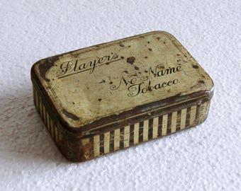 Vintage Player's No Name Tobacco Tin Box, Retro Small English Collectible Tin Imperial Tobacco Group, Rusty No Name Tin made in England 50s