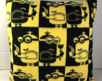 Black And Yellow Minions Embroidered Reversible Accent Pillow