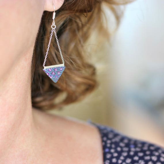 Sterling silver and grey triangle earrings 'Phlox'