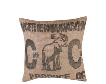 """Pillow Cover """"coffee"""" from coffee sack-size s (-: Black Elephant)"""