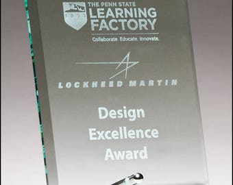 Clear glass award, beveled edge and silver plated easel post - recognition award - free engraving - laser engraved