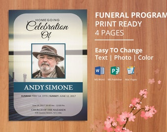 Printable Funeral Program Template, Obituary Program Template | Editable With Microsoft Word, Publisher & Mac Page, - EF90