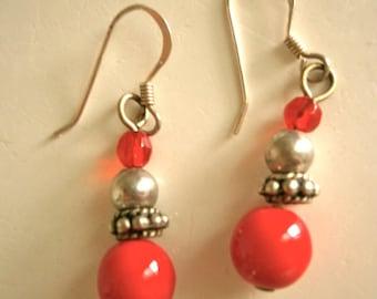 Sterling Red Bead Earrings