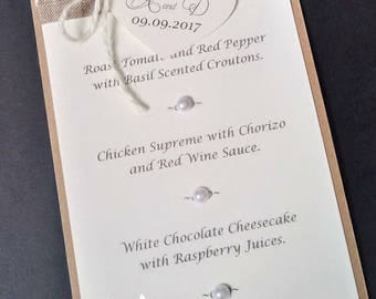 10 Rustic Bespoke Menu Cards  Any Colours