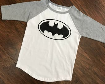 BATMAN Raglan shirt 2t-4t available