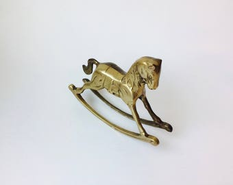 Vintage Solid Brass Rocking Horse/Brass Horse/Rocking Horse/Brass Animal/Nursery Decor/Coffee Table Decor/Mantle Decor/Traditional/Baby Gift
