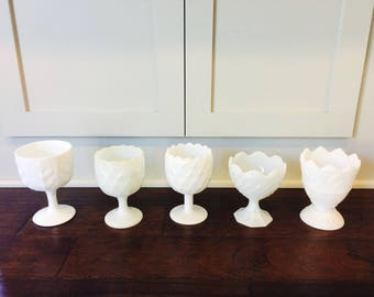 Vintage Lot of 5 Milk Glass Compotes/Vases/Milk Glass Vases/Milk Glass Compotes/Napco/E.O. Brody/FTD 1975/Wedding Decor/Shabby Chic Wedding