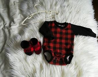 Kit, onesie, lumberjack, red, black, new born, new born, shower, gift, Baby Slippers