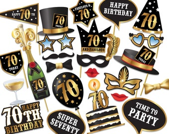 70th birthday Photo Booth props - Instant Download printable PDF. Seventieth birthday party Photo Booth supplies. Seventy Today - 0171