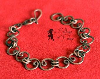 Wrought copper link bracelet, handmade