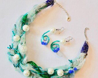 Spring necklace and earrings set statement piece with adjustable length pearl lace beads perfect mothers day gift