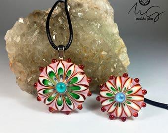 Murano Glass pendant and ring set. Mandalas collection. Lampwork Beads. Handmade by MALAKAGLASS.